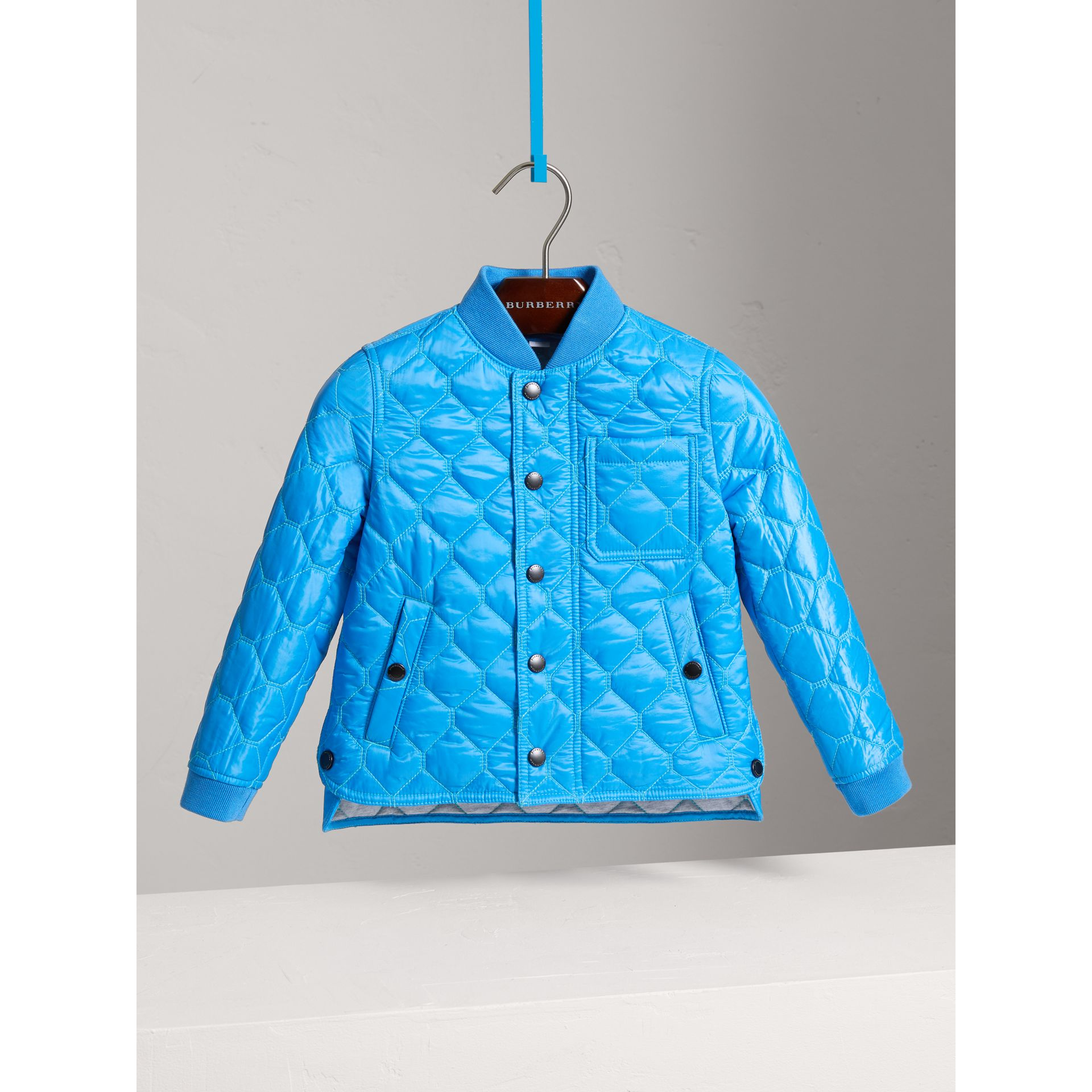 Contrast Topstitch Detail Quilted Jacket in Cyan Blue | Burberry - gallery image 0