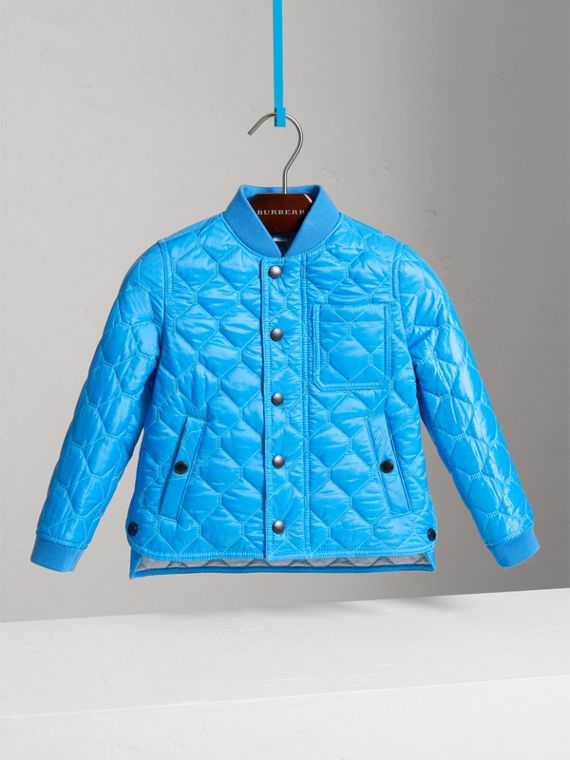 Contrast Topstitch Detail Quilted Jacket in Cyan Blue