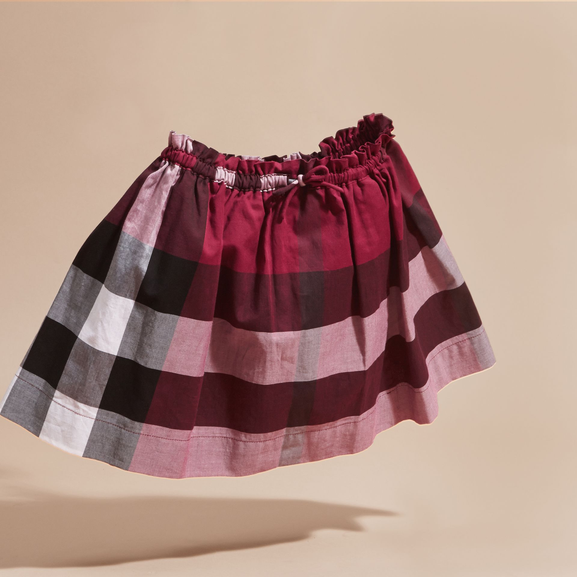 Dark plum pink Check Cotton Skirt - gallery image 3