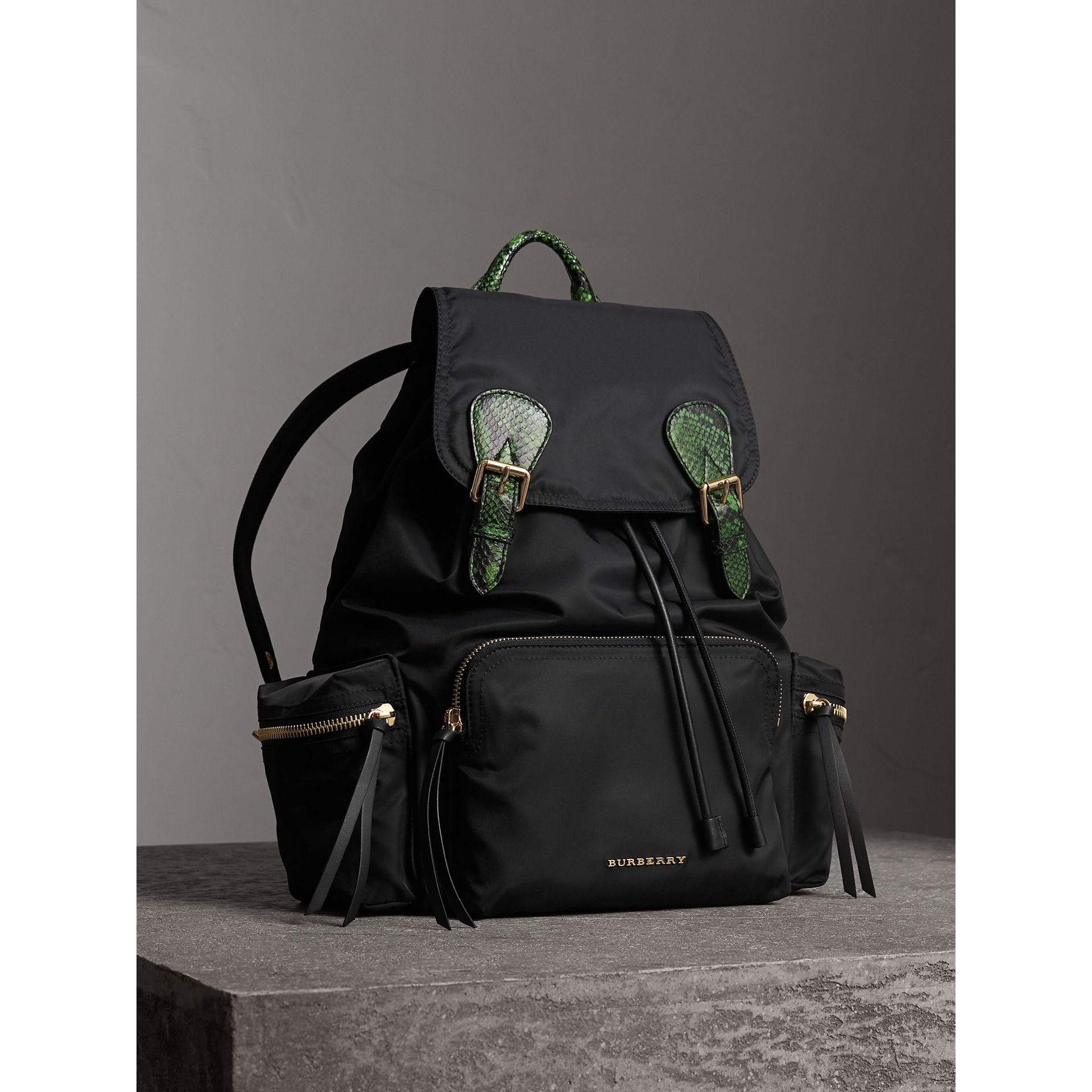 The Large Rucksack in Technical Nylon and Snakeskin - Women | Burberry - gallery image 7