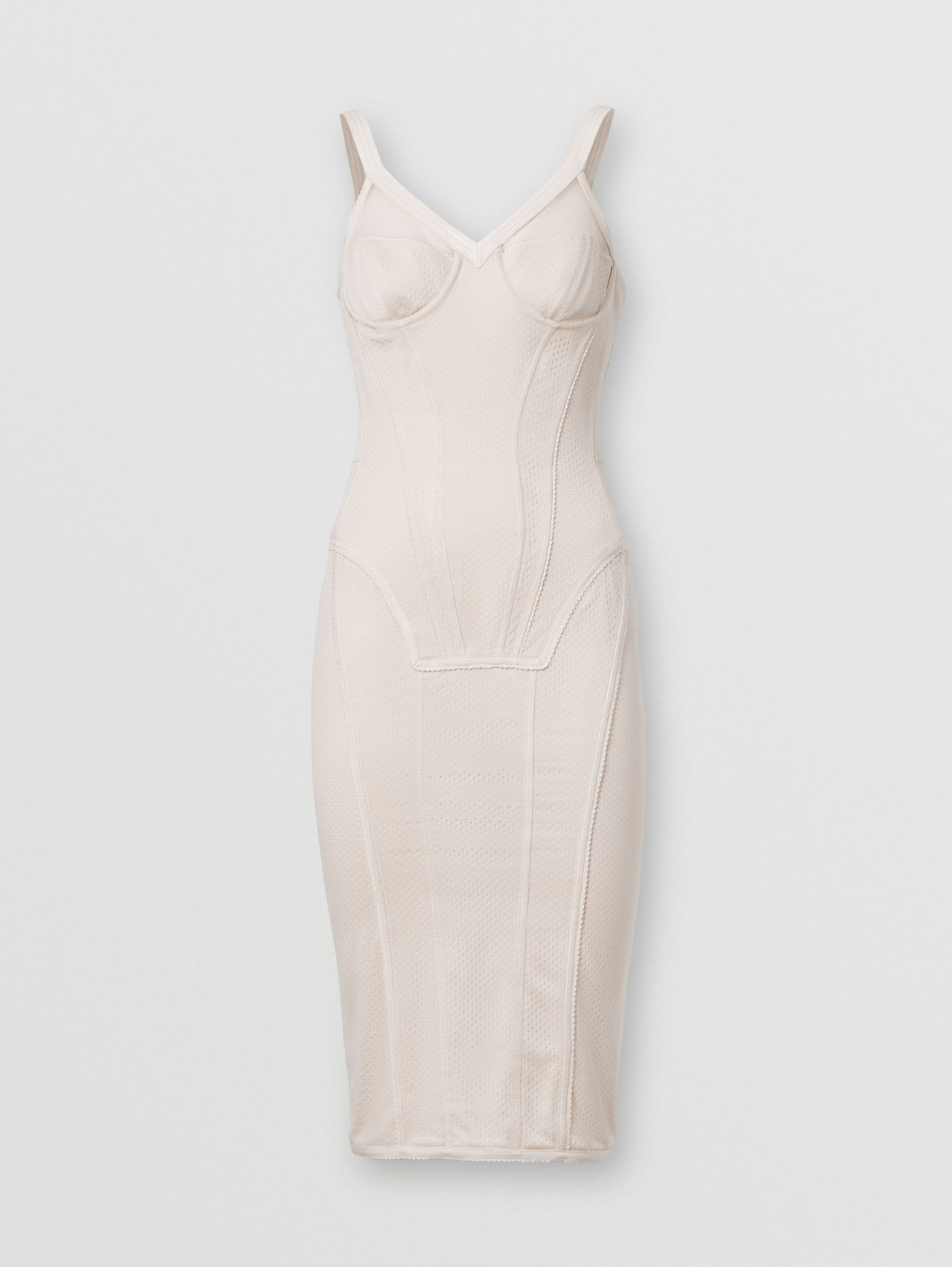 Mesh and Stretch Jersey Corset Dress in Pale Biscuit