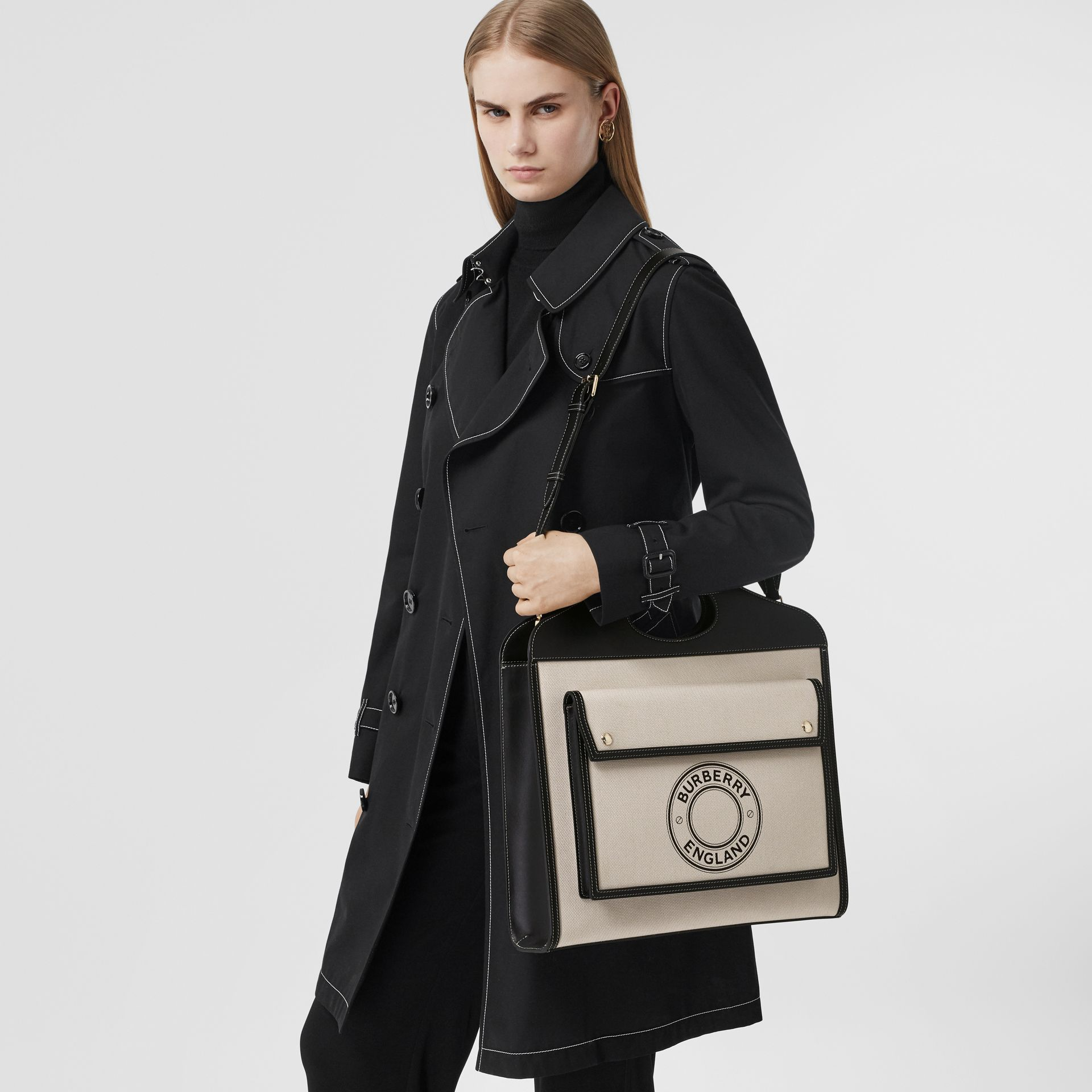 Medium Logo Graphic Canvas and Leather Pocket Bag in Black/white - Women | Burberry United States - gallery image 2