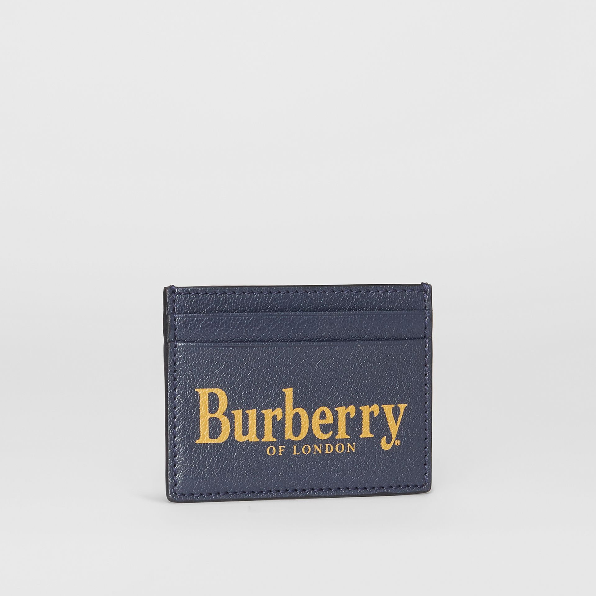 Logo Print Leather Card Case in Storm Blue/antique Green | Burberry - gallery image 4