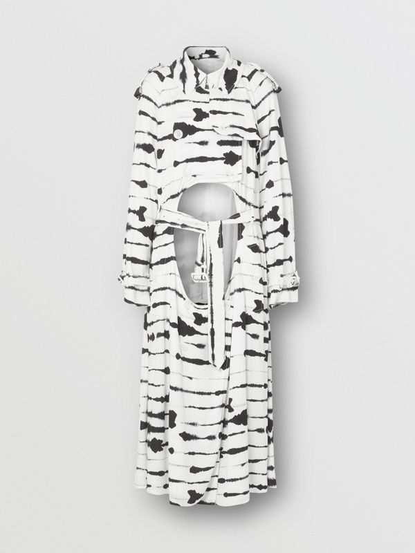 Watercolour Print Jersey Step-through Trench Coat in Monochrome - Women | Burberry - cell image 3