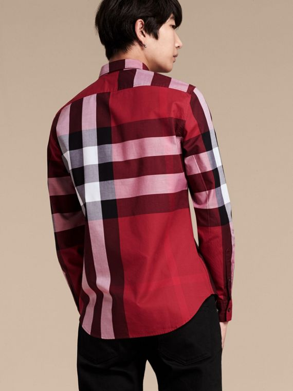 Berry red Check Cotton Shirt Berry Red - cell image 2