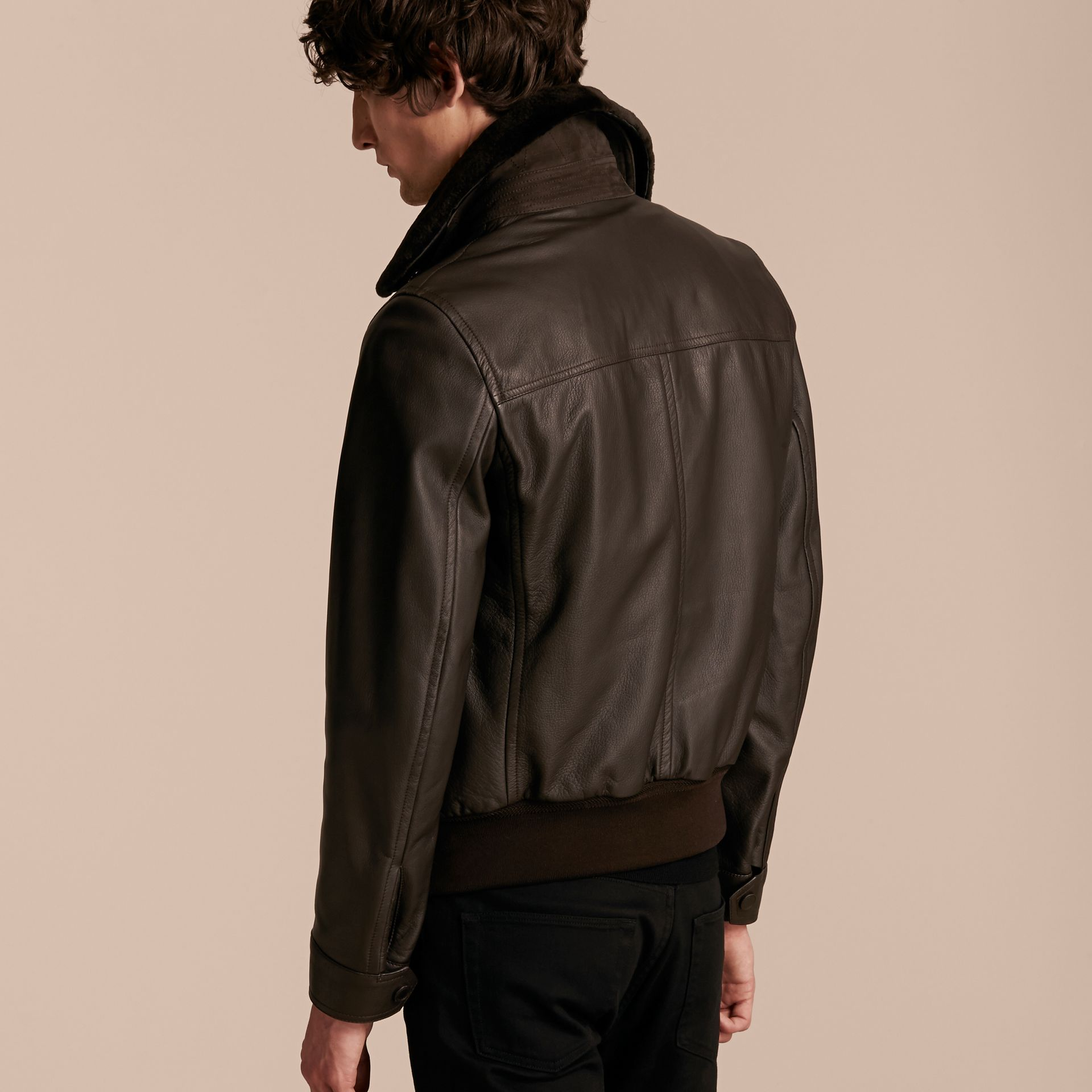 Dark brown Textured Leather Jacket with Detachable Mink Collar - gallery image 3