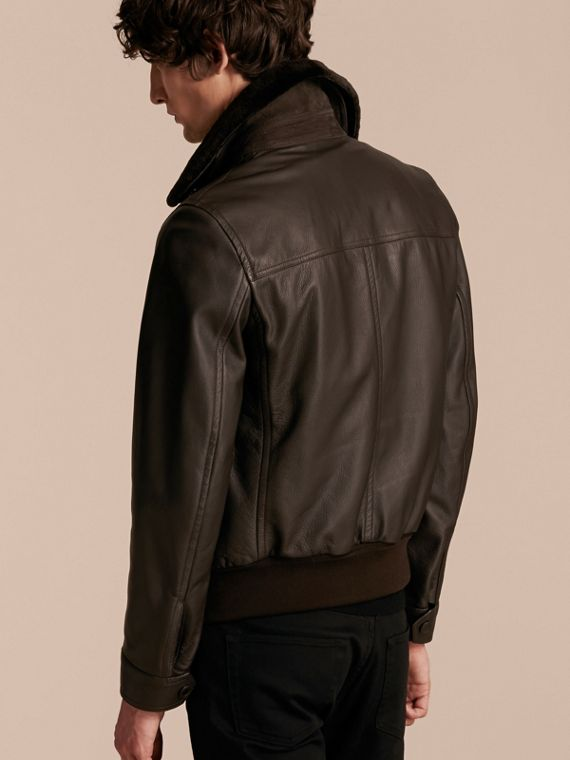 Dark brown Textured Leather Jacket with Detachable Mink Collar - cell image 2