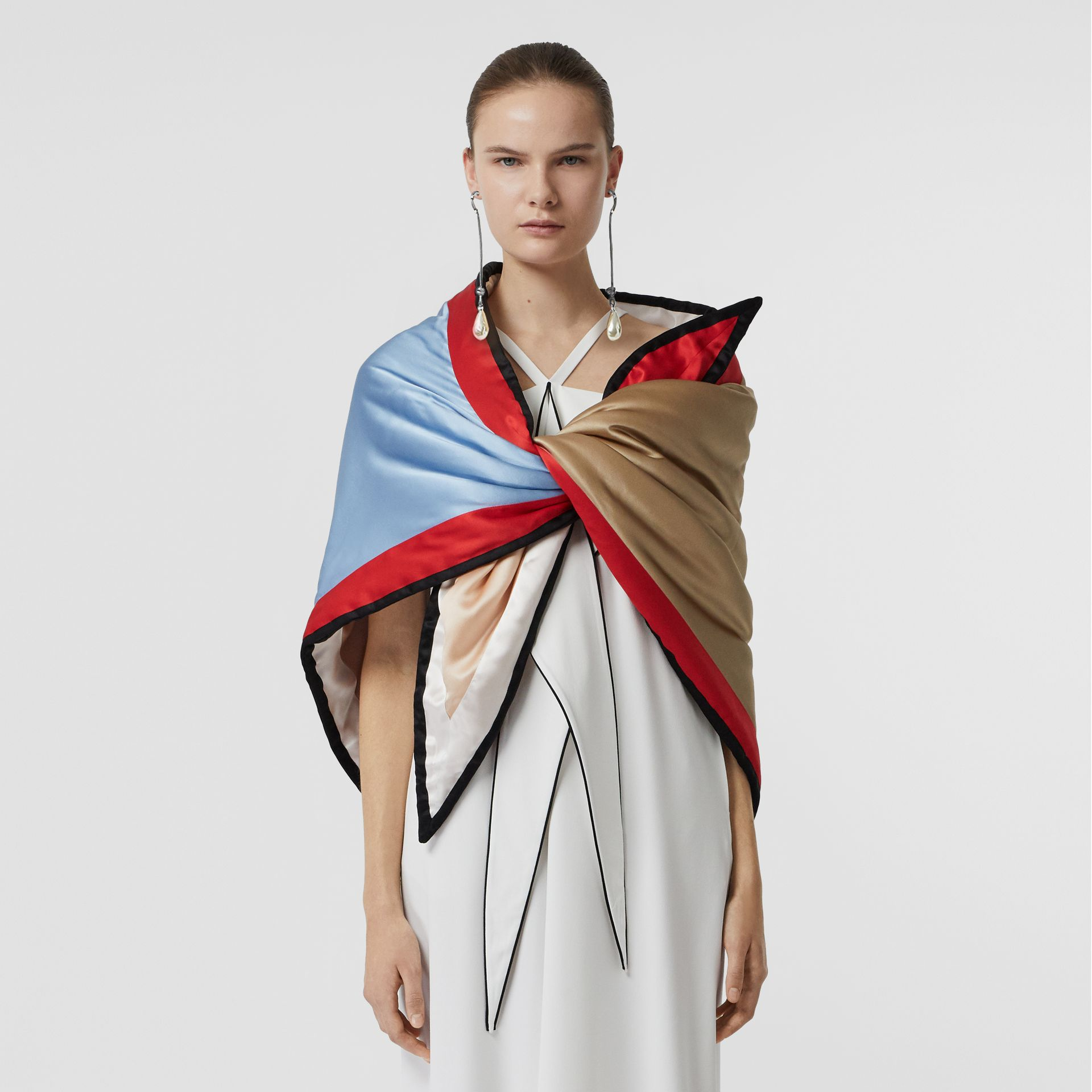 Colour Block Silk Puffer Bandana in Multicolour - Women | Burberry United States - gallery image 3