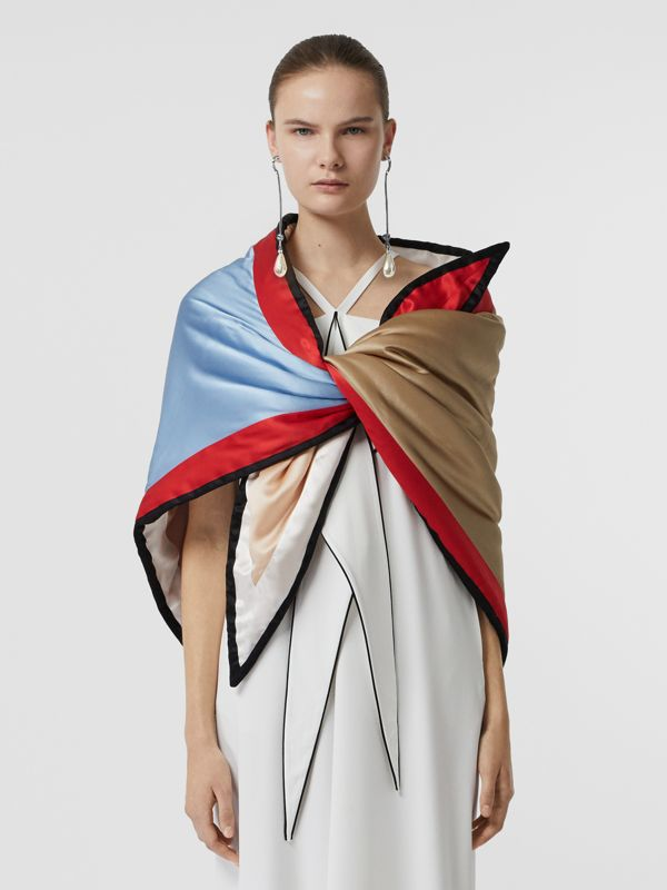 Colour Block Silk Puffer Bandana in Multicolour - Women | Burberry United States - cell image 3