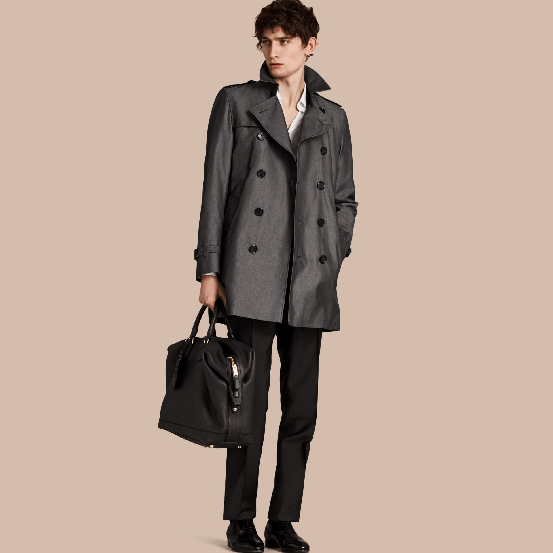 Slate grey Cotton Gabardine Trench Coat Slate Grey - gallery image 1