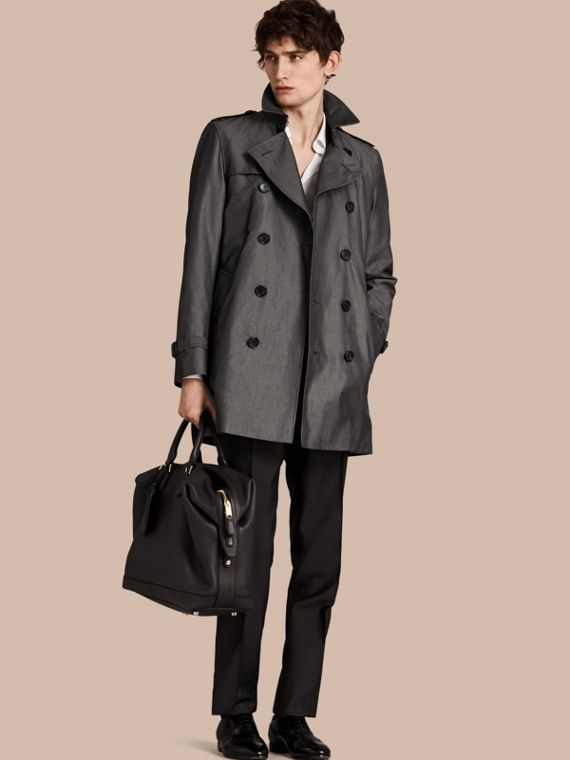 Cotton Gabardine Trench Coat Slate Grey