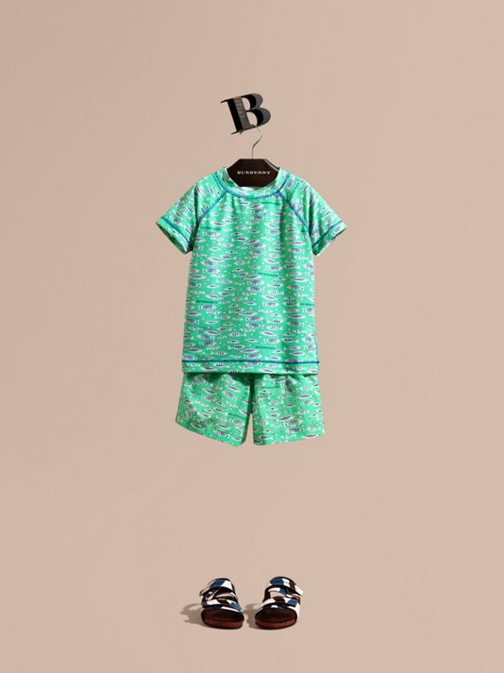 Fish Print Rash Top - Boy | Burberry