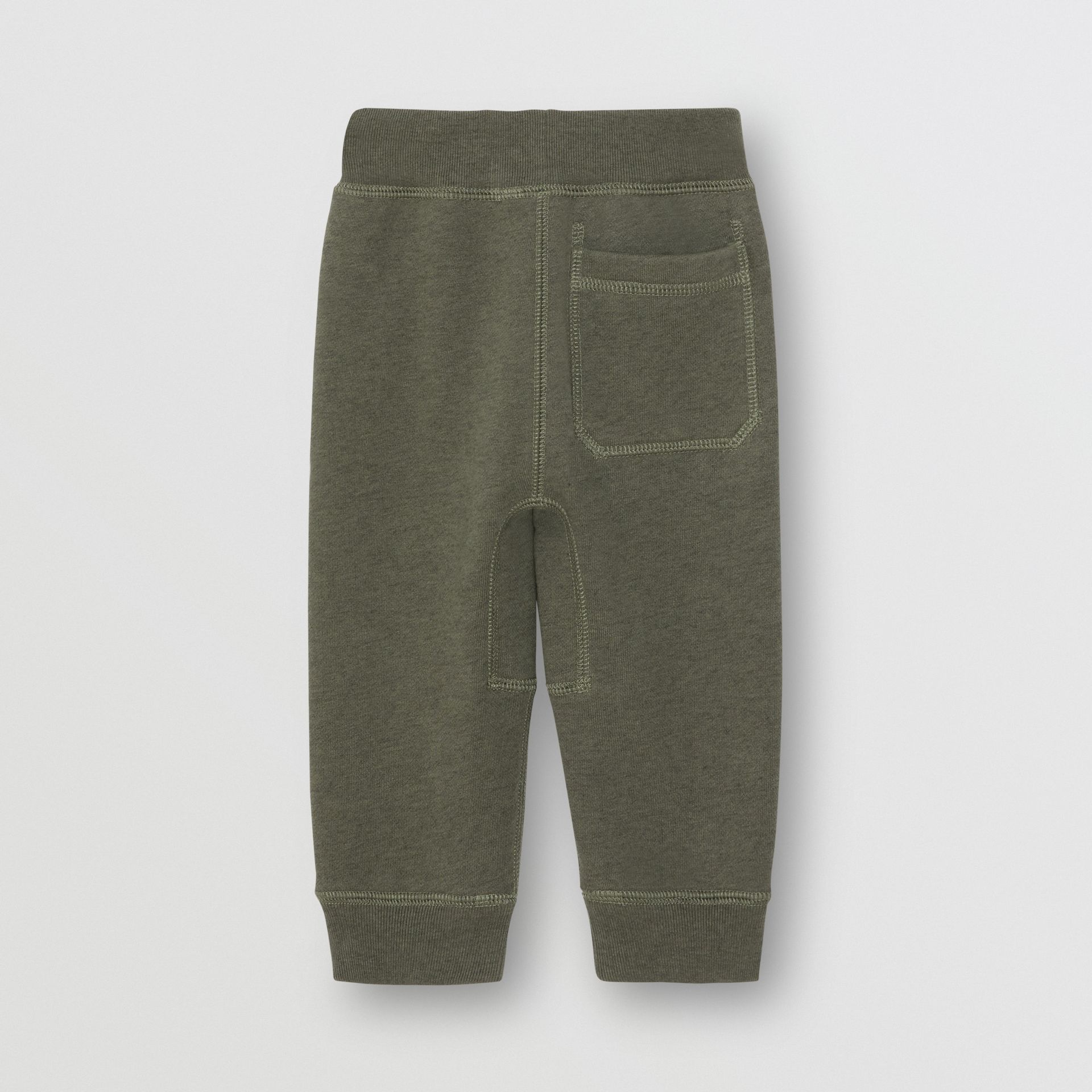 Embroidered Logo Cotton Trackpants in Olive Melange - Children | Burberry - gallery image 3