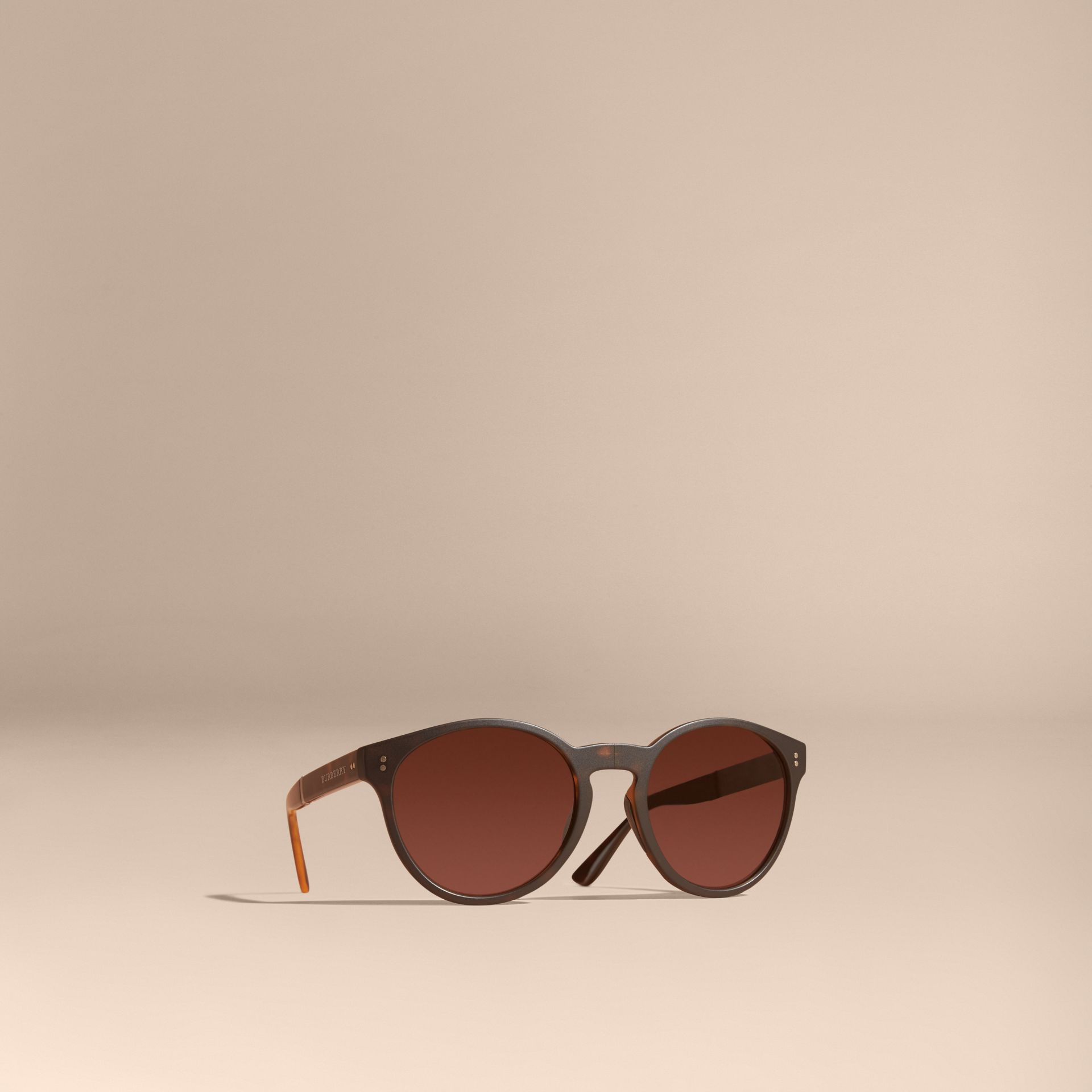 Folding Round Frame Sunglasses in Tortoise Shell - gallery image 1