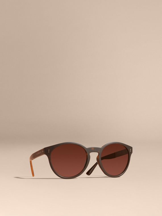 Folding Round Frame Sunglasses Tortoise Shell