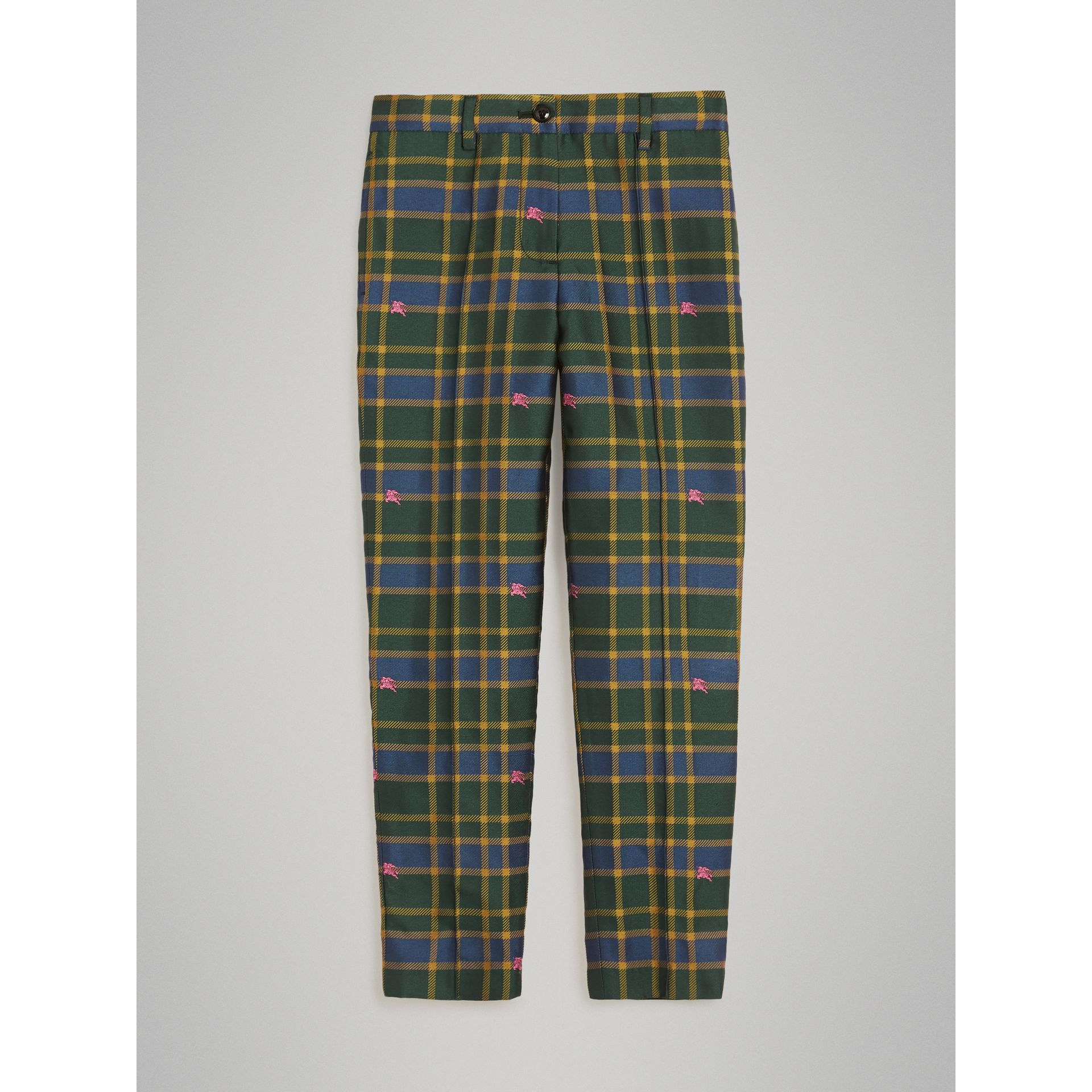 Equestrian Knight Check Tuxedo Trousers in Dark Navy/green | Burberry United Kingdom - gallery image 0