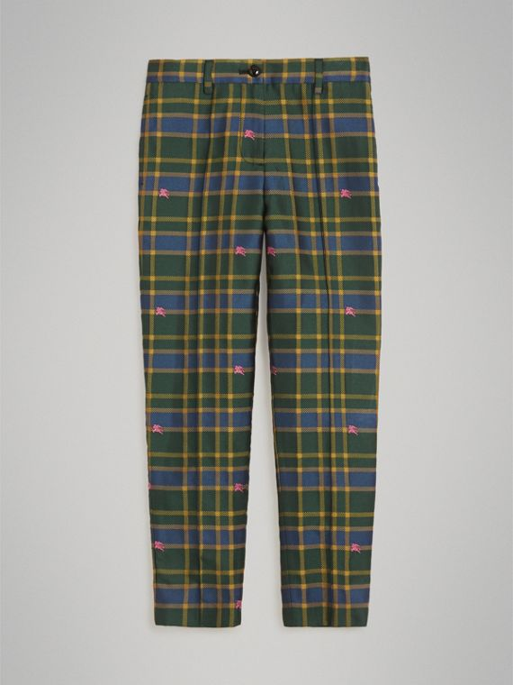 Jacquard Check and Equestrian Knight Tuxedo Trousers in Dark Navy/green