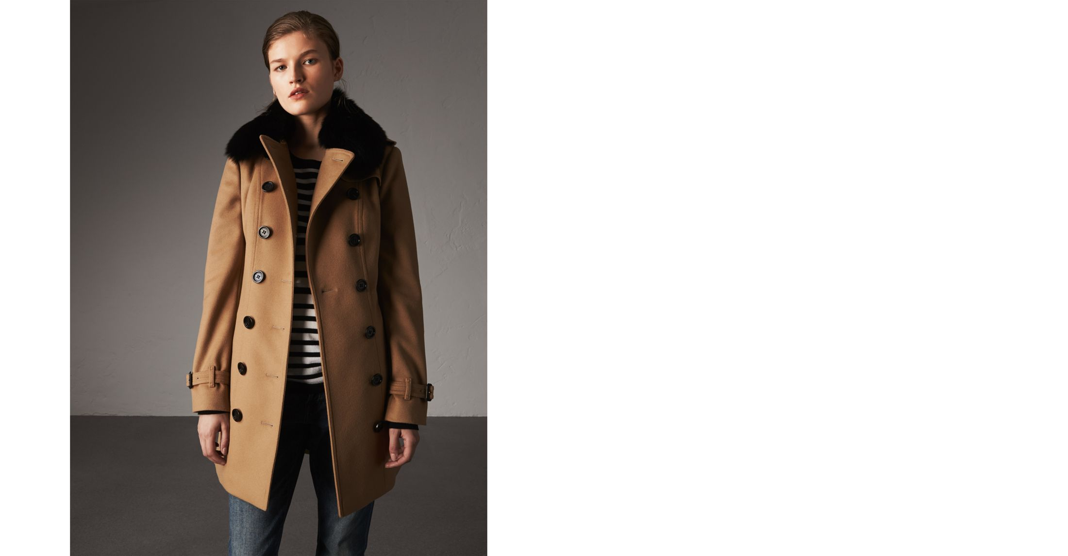 cb49707e37c477 Shoptagr | Wool Cashmere Trench Coat With Fur Collar by Burberry