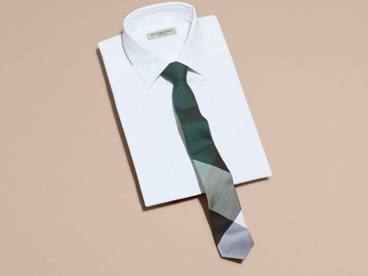 Dark forest green Slim Cut Check Silk Cotton Tie Dark Forest Green - cell image 2