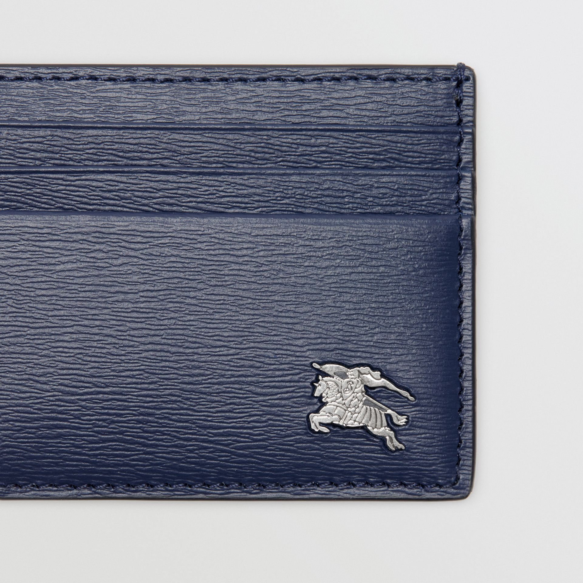 London Leather Money Clip Card Case in Navy - Men | Burberry - gallery image 1