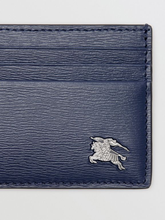 London Leather Money Clip Card Case in Navy - Men | Burberry - cell image 1