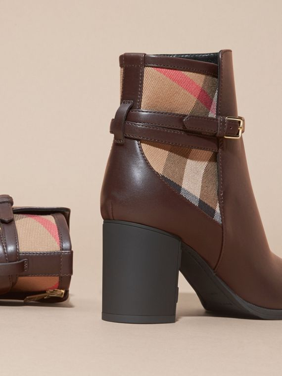 Chestnut House Check and Leather Ankle Boots Chestnut - cell image 3