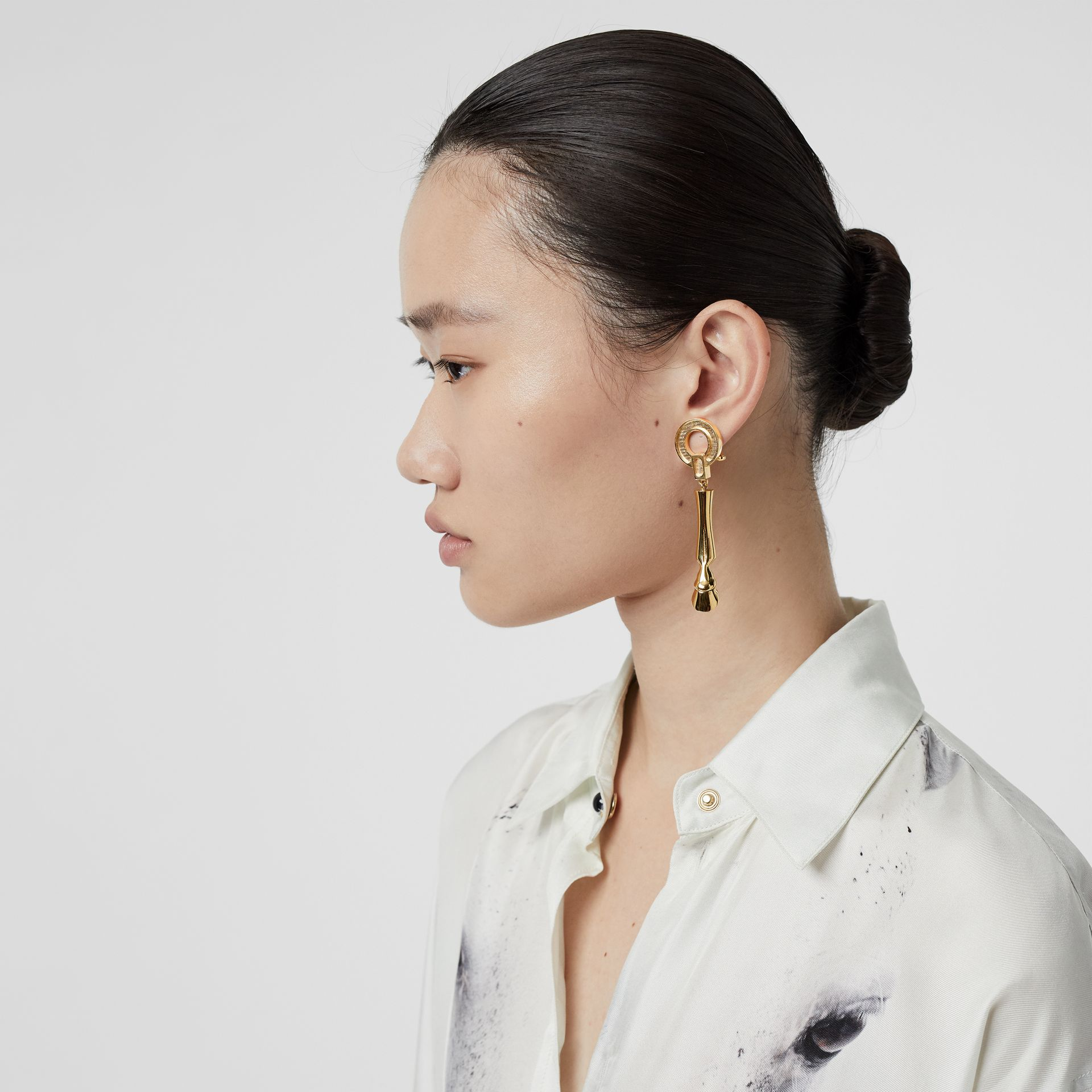 Gold-plated Hoof Drop Earrings in Light - Women | Burberry - gallery image 2