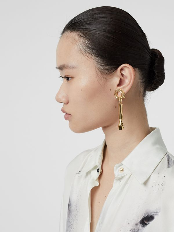 Gold-plated Hoof Drop Earrings in Light - Women | Burberry - cell image 2