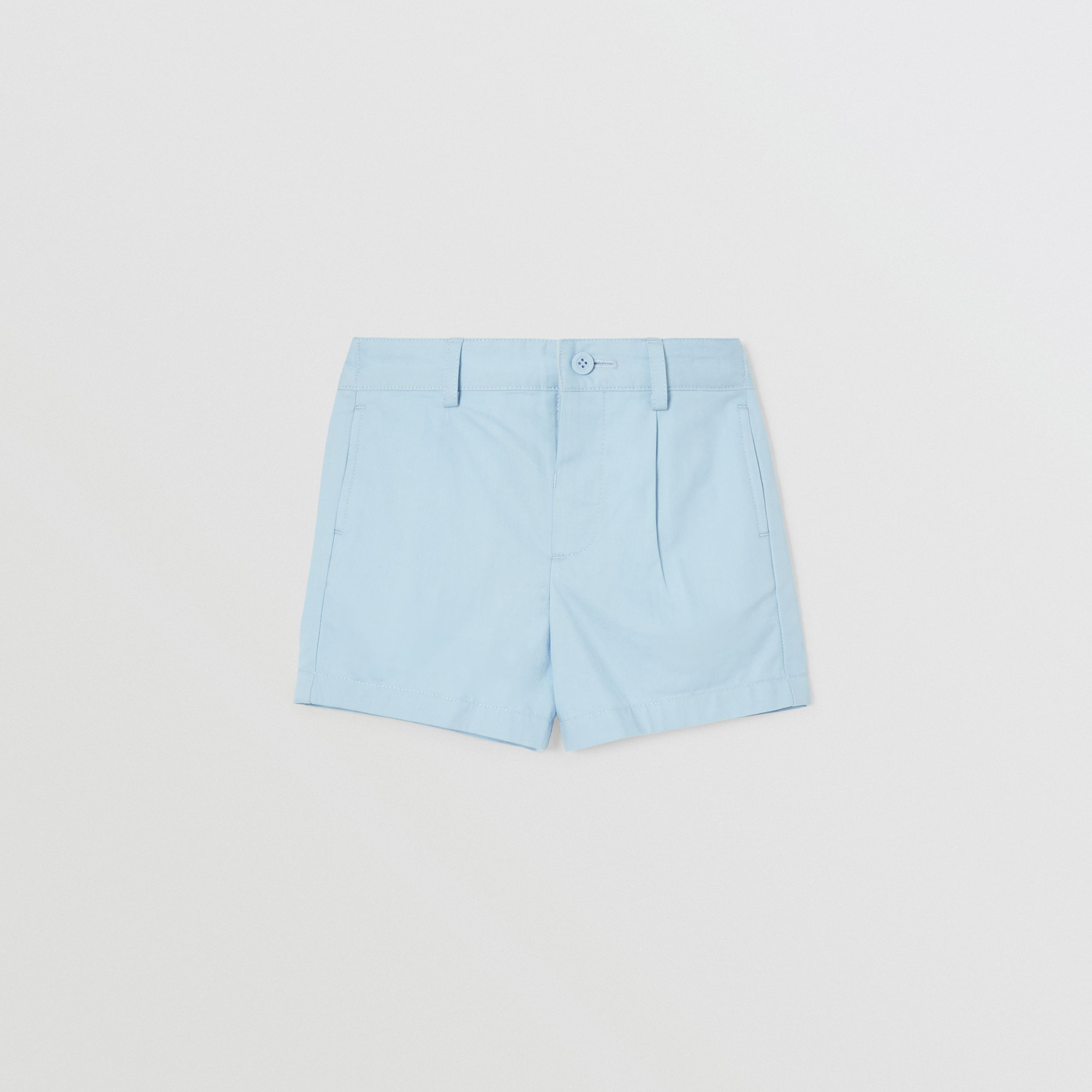 Logo Appliqué Cotton Twill Tailored Shorts in Pale Blue - Children | Burberry - 1