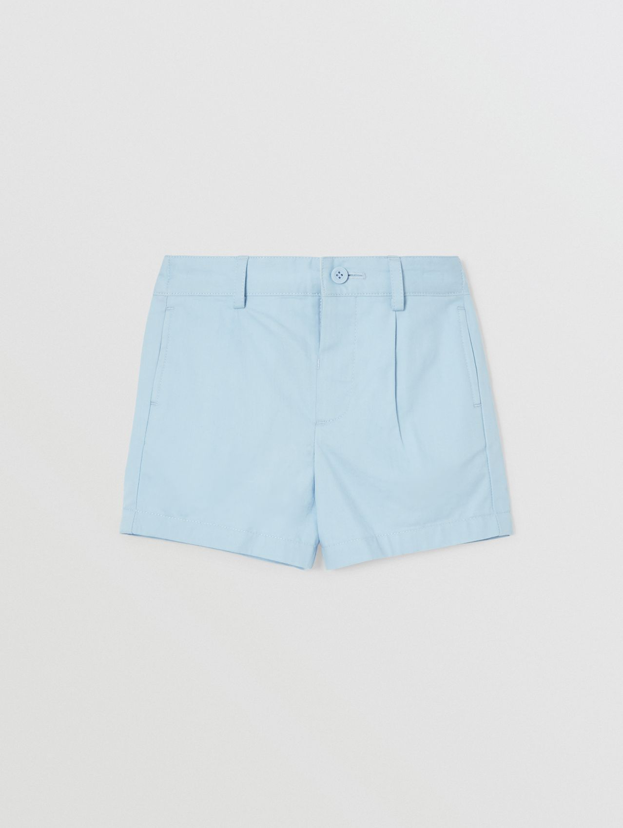 Logo Appliqué Cotton Twill Tailored Shorts (Pale Blue)