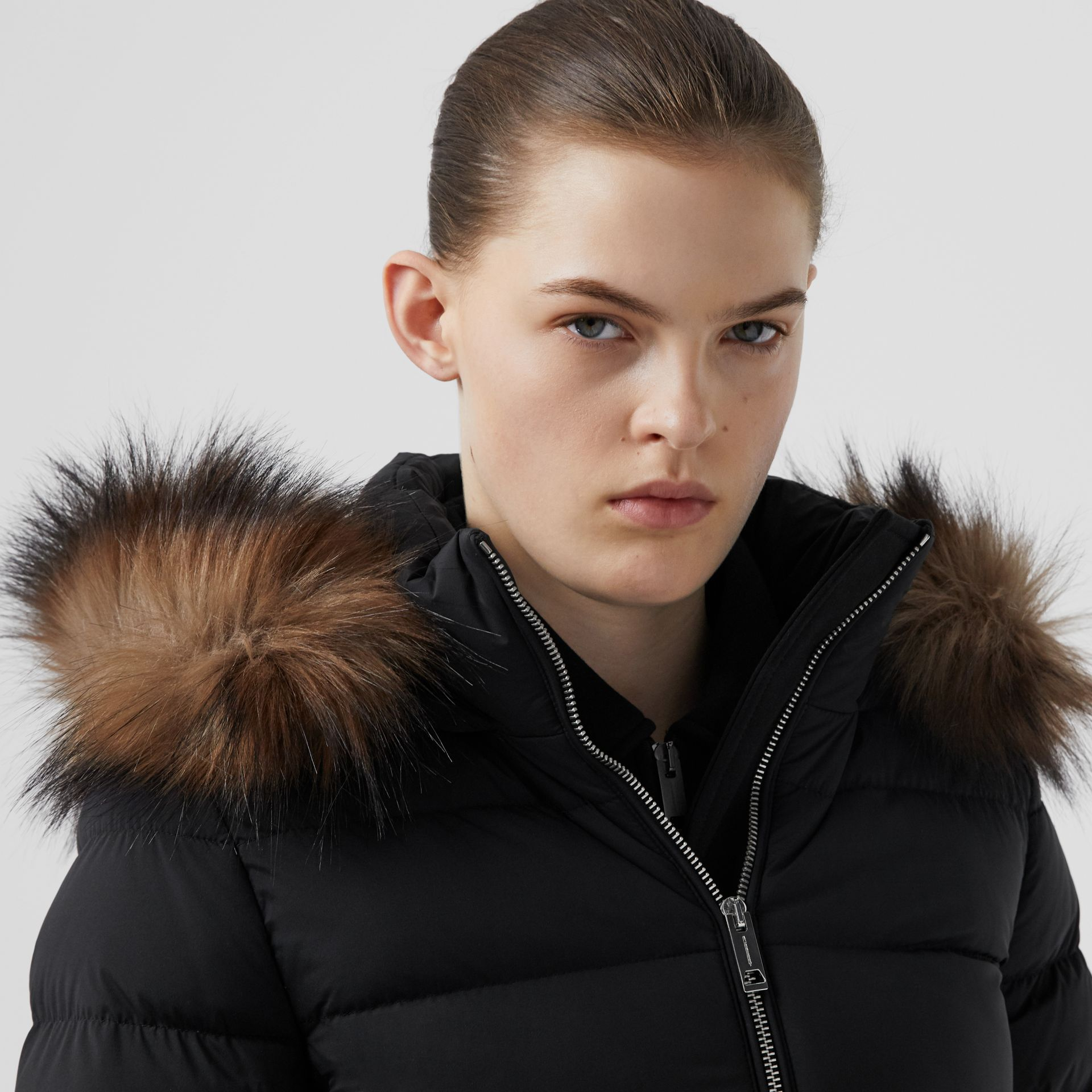 Detachable Faux Fur Trim Hooded Puffer Jacket in Black - Women | Burberry - gallery image 1