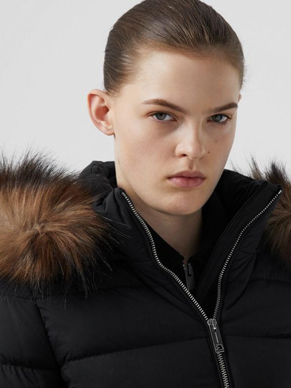 Detachable Faux Fur Trim Hooded Puffer Jacket in Black - Women | Burberry - cell image 1
