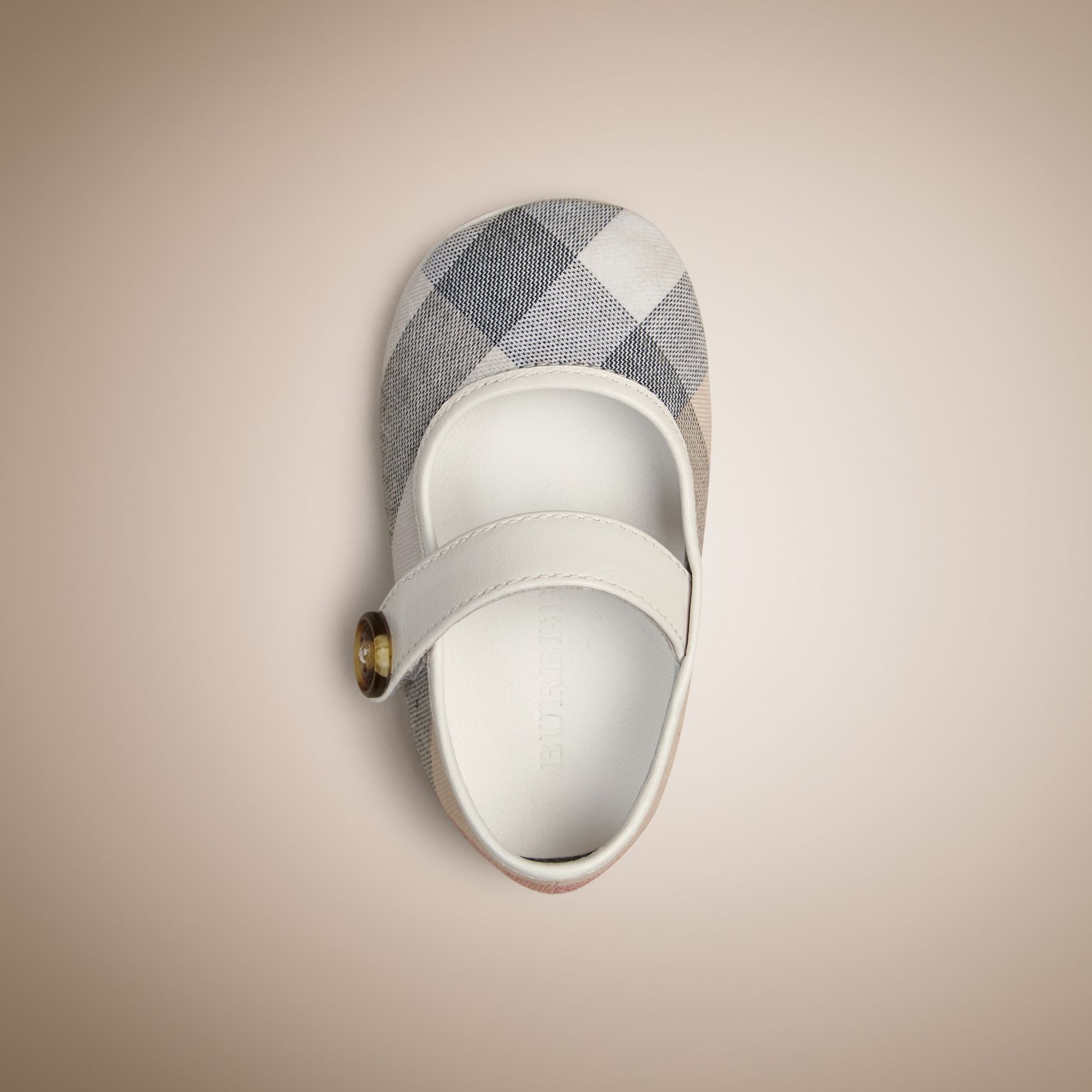 Check Detail Lambskin Booties in Pale Classic - Children | Burberry - gallery image 3