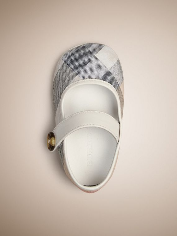Check Detail Lambskin Booties in Pale Classic - Children | Burberry - cell image 2