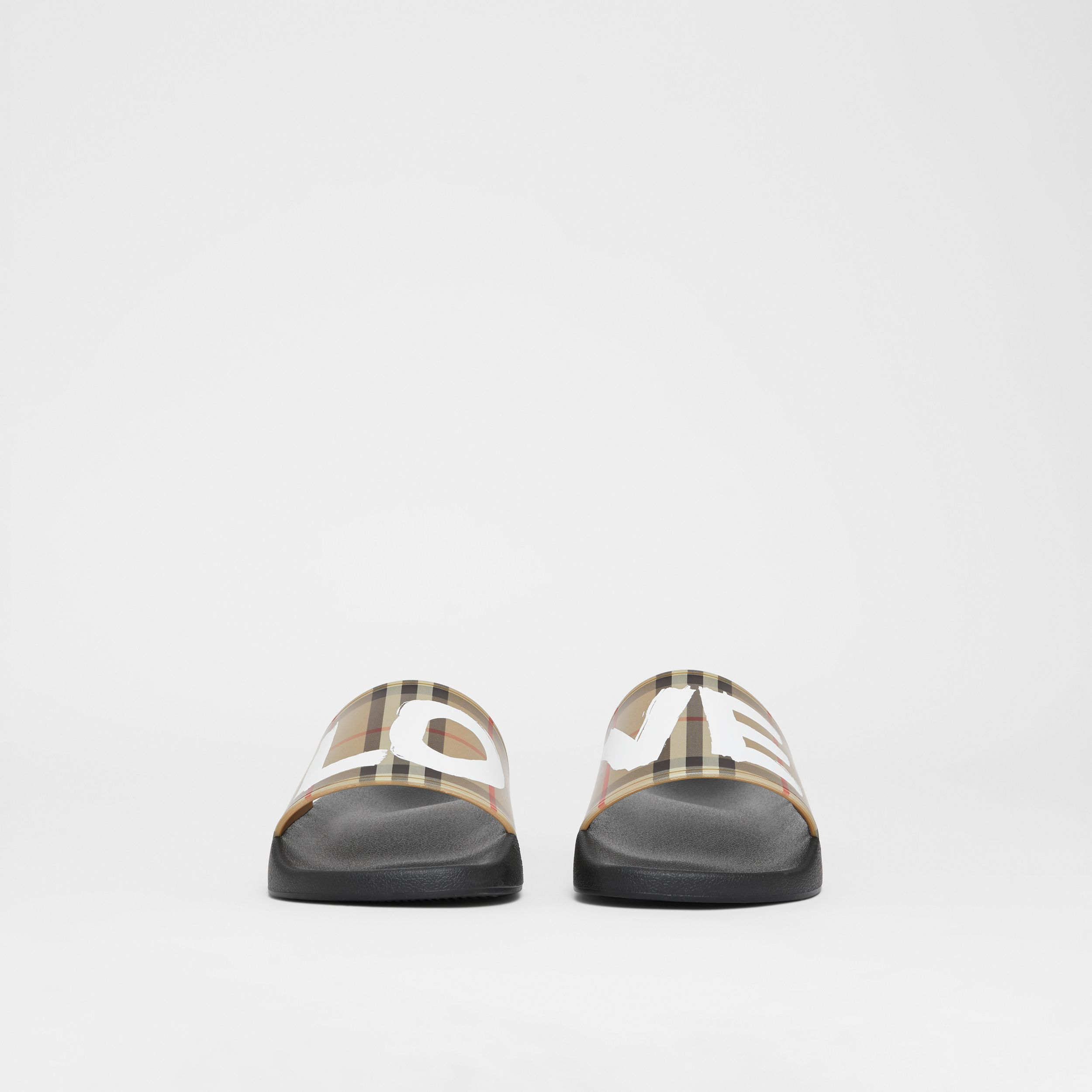 Love Print Vintage Check Slides in Archive Beige - Men | Burberry - 4