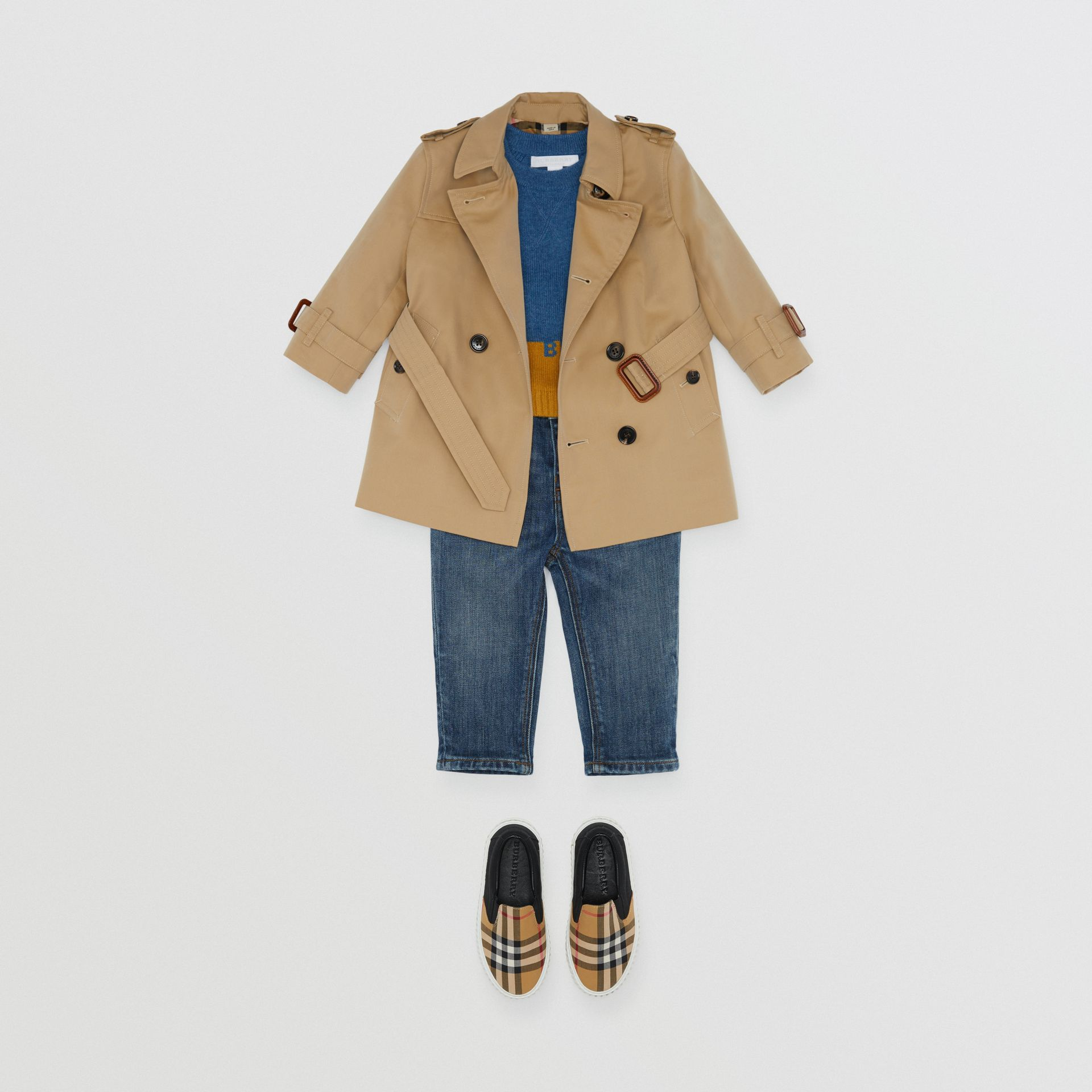 Cotton Gabardine Trench Coat in Honey - Children | Burberry United Kingdom - gallery image 2