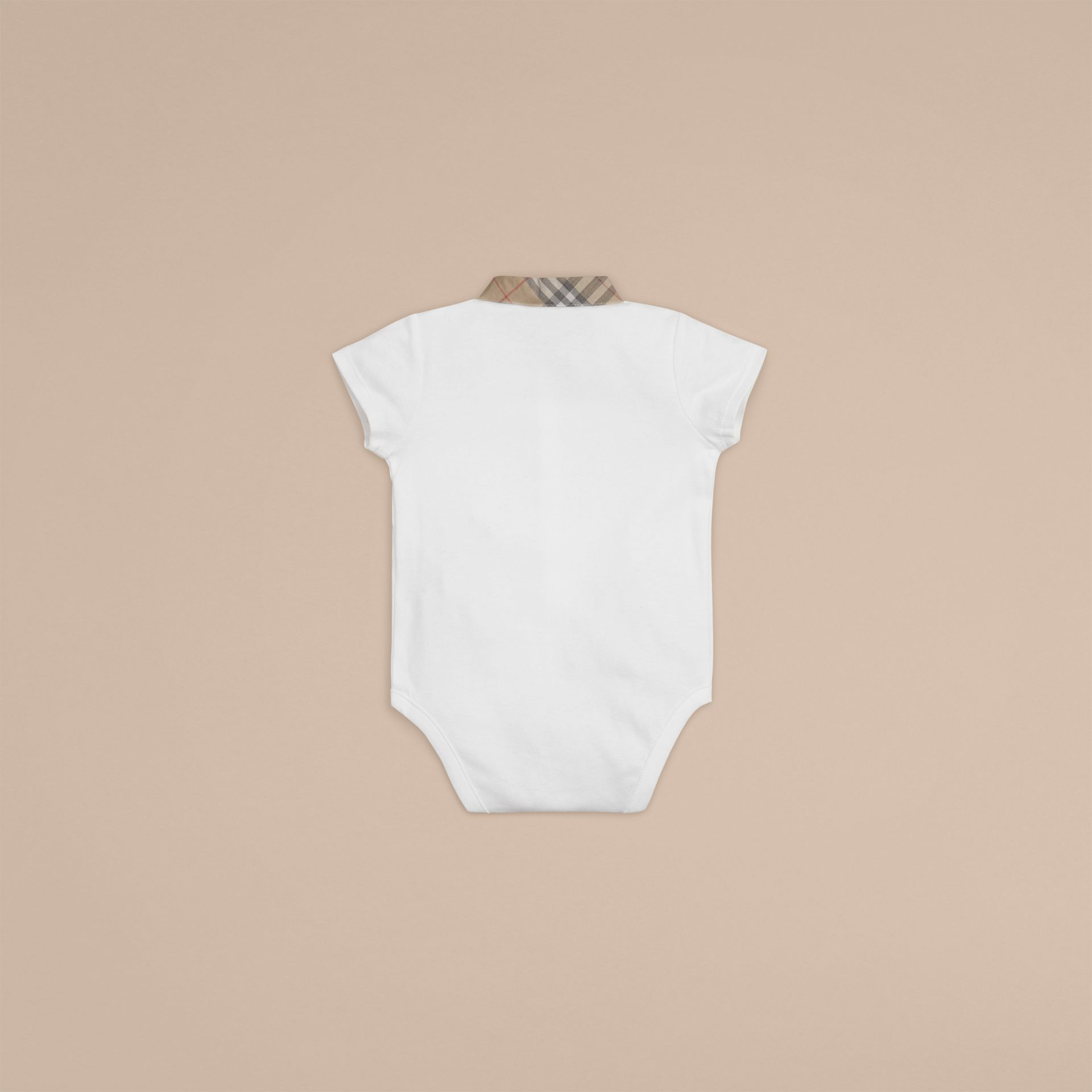 Check Detail Cotton Bodysuit in White | Burberry - gallery image 2