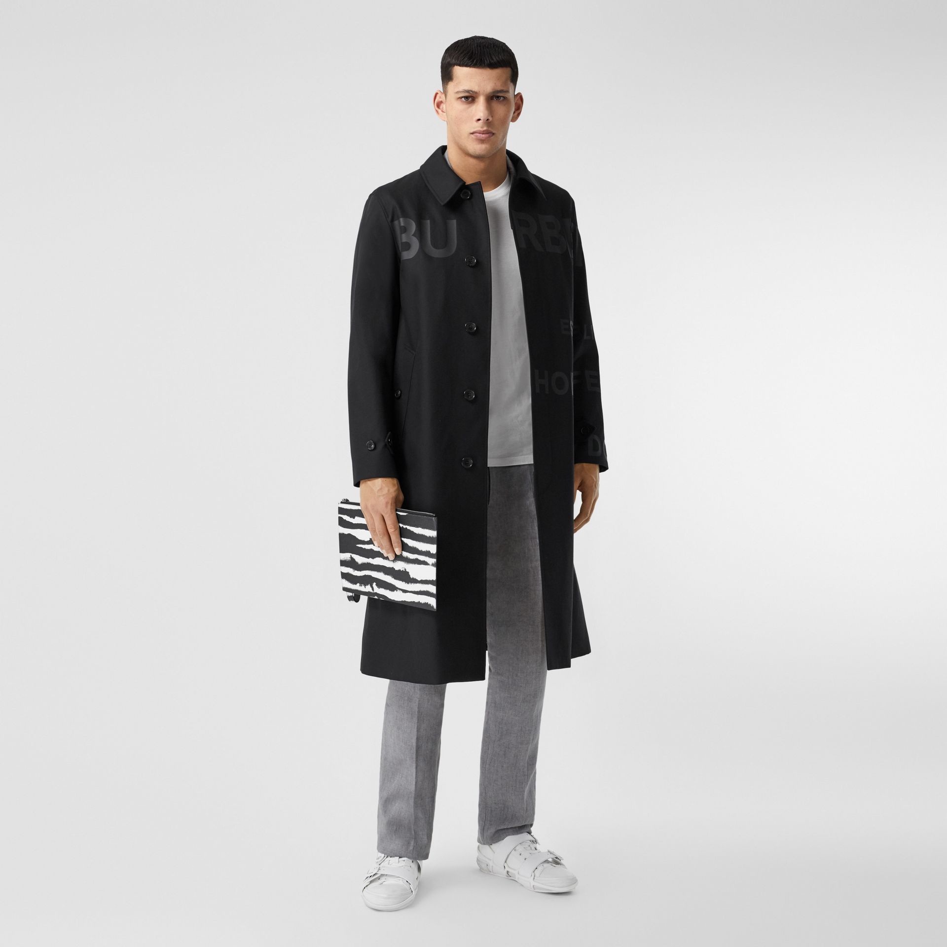 Horseferry Print Cotton Gabardine Car Coat in Black - Men | Burberry - gallery image 6