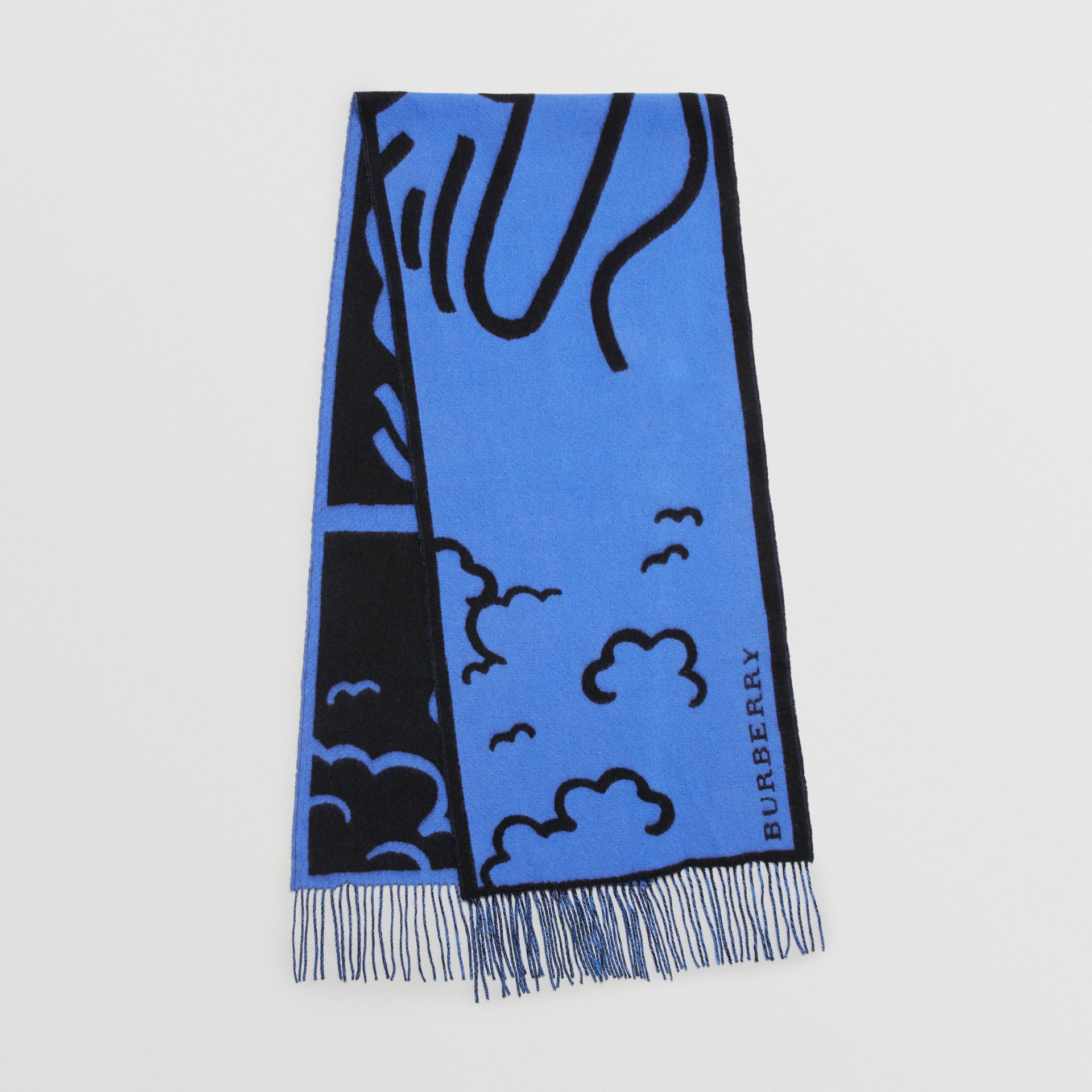 London Street Art Wool Cashmere Jacquard Scarf in Indigo Blue | Burberry - gallery image 0