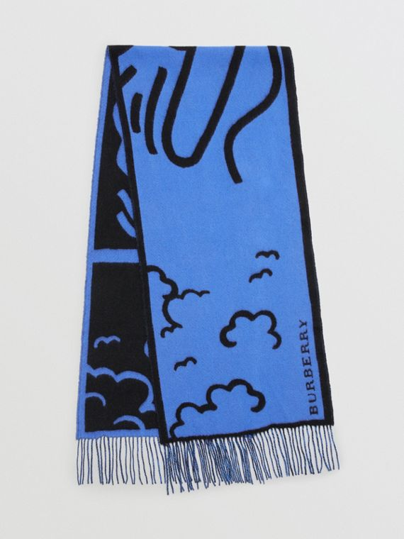 London Street Art Wool Cashmere Jacquard Scarf in Indigo Blue