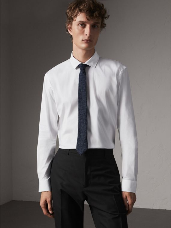 Modern Fit Stretch Cotton Shirt in White