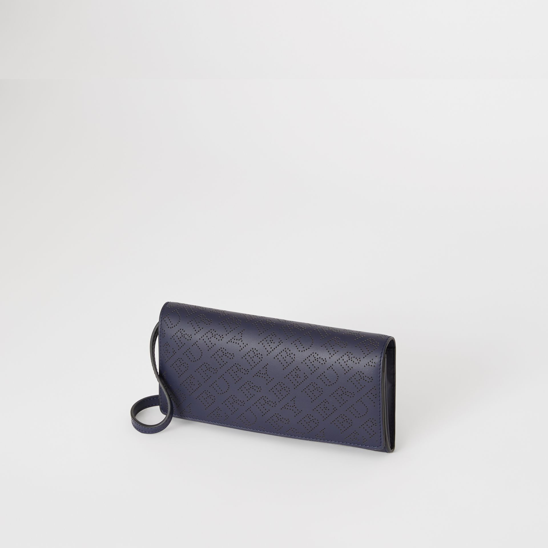 Perforated Logo Leather Wallet with Detachable Strap in Navy - Women | Burberry - gallery image 4