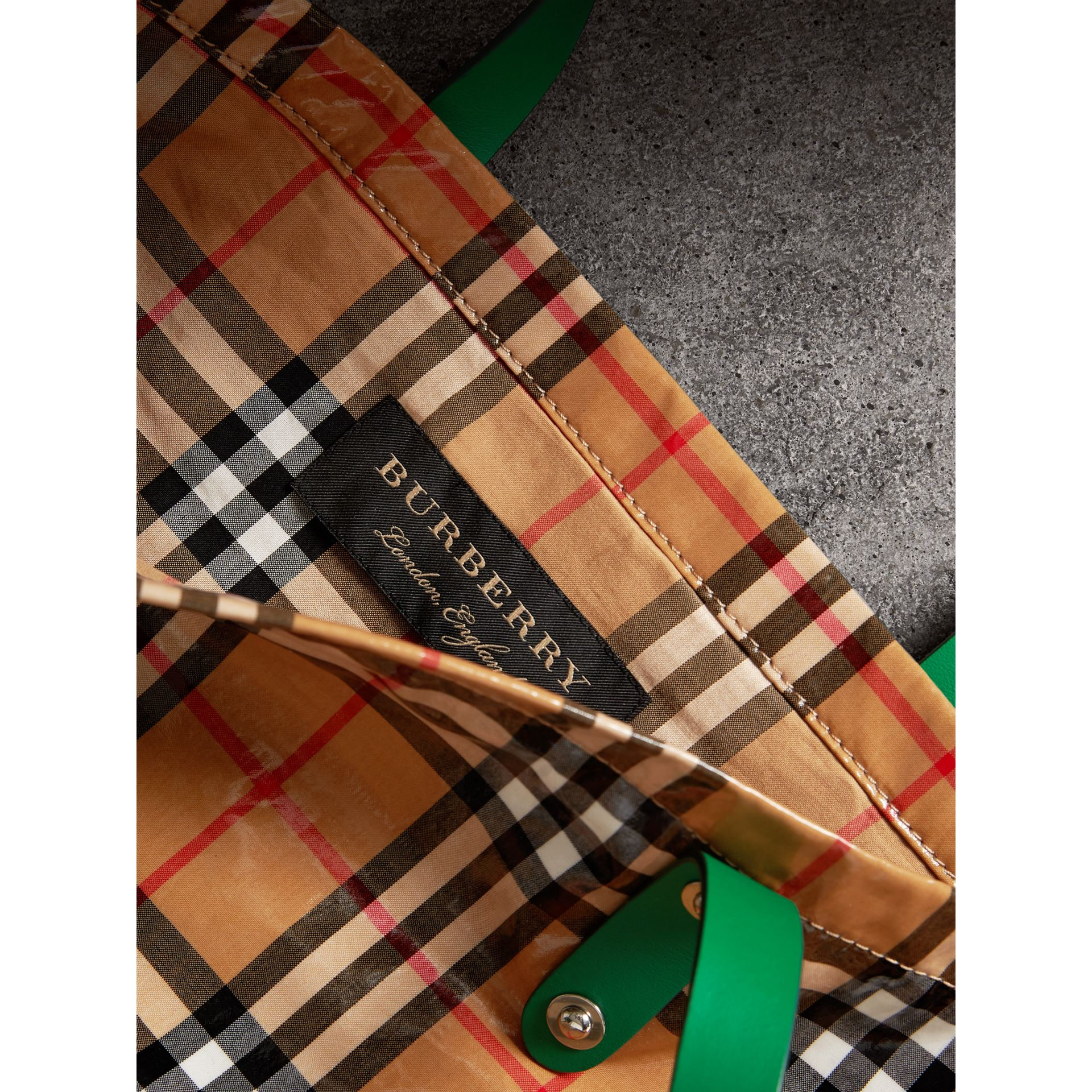 Large Coated Vintage Check Shopper in Palm Green | Burberry United States - gallery image 6