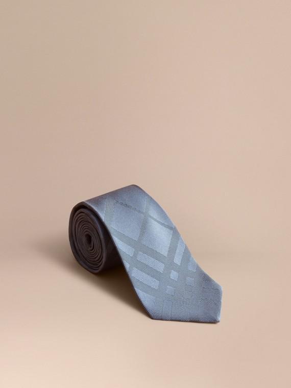 Classic Cut Check Silk Jacquard Tie Light Blue