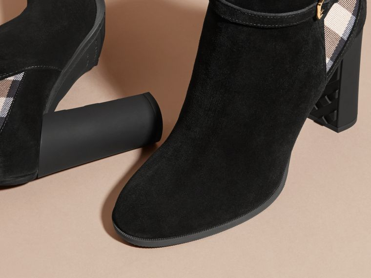 Noir Bottines en cuir velours avec motif House check - cell image 4