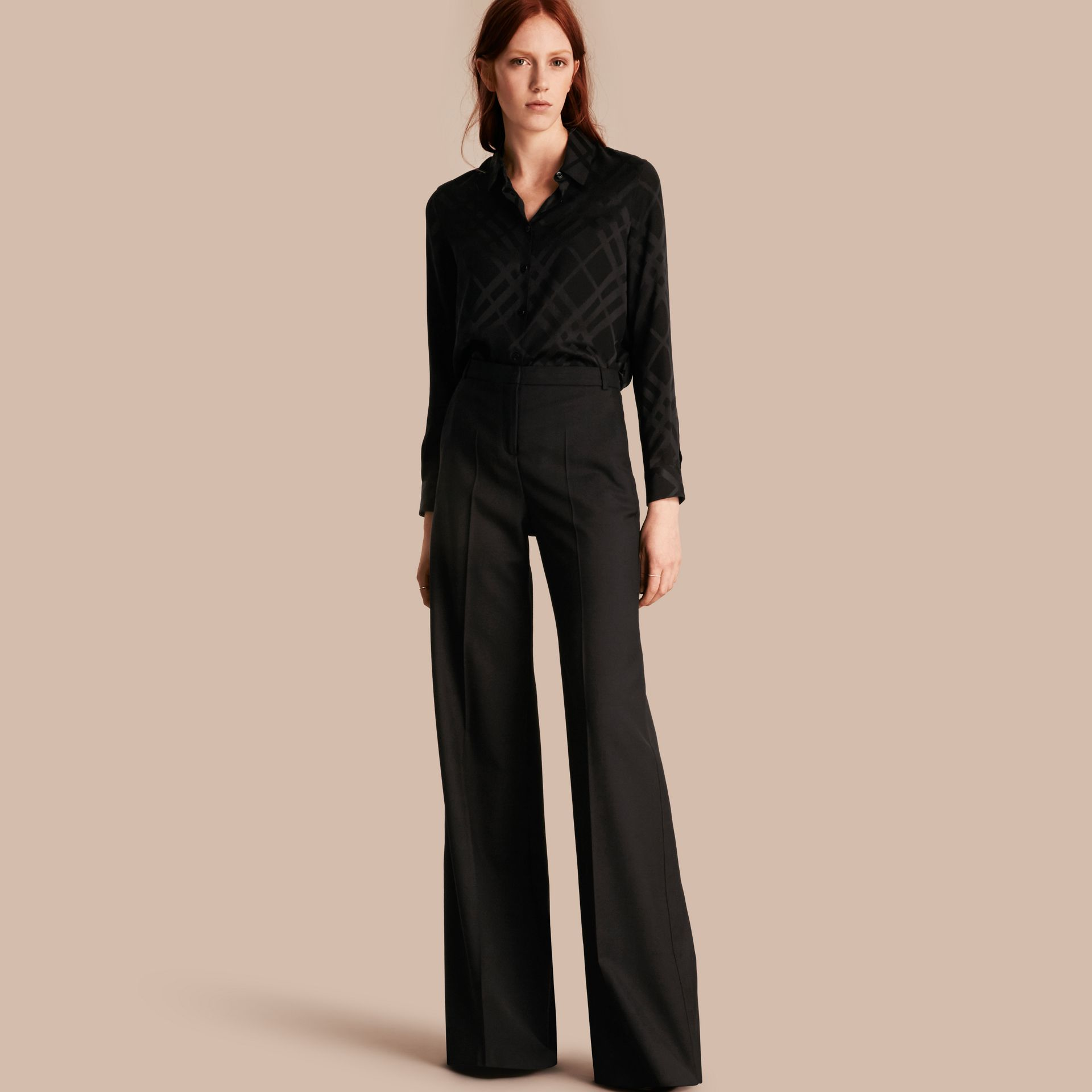Black Wide-leg Wool Trousers - gallery image 1