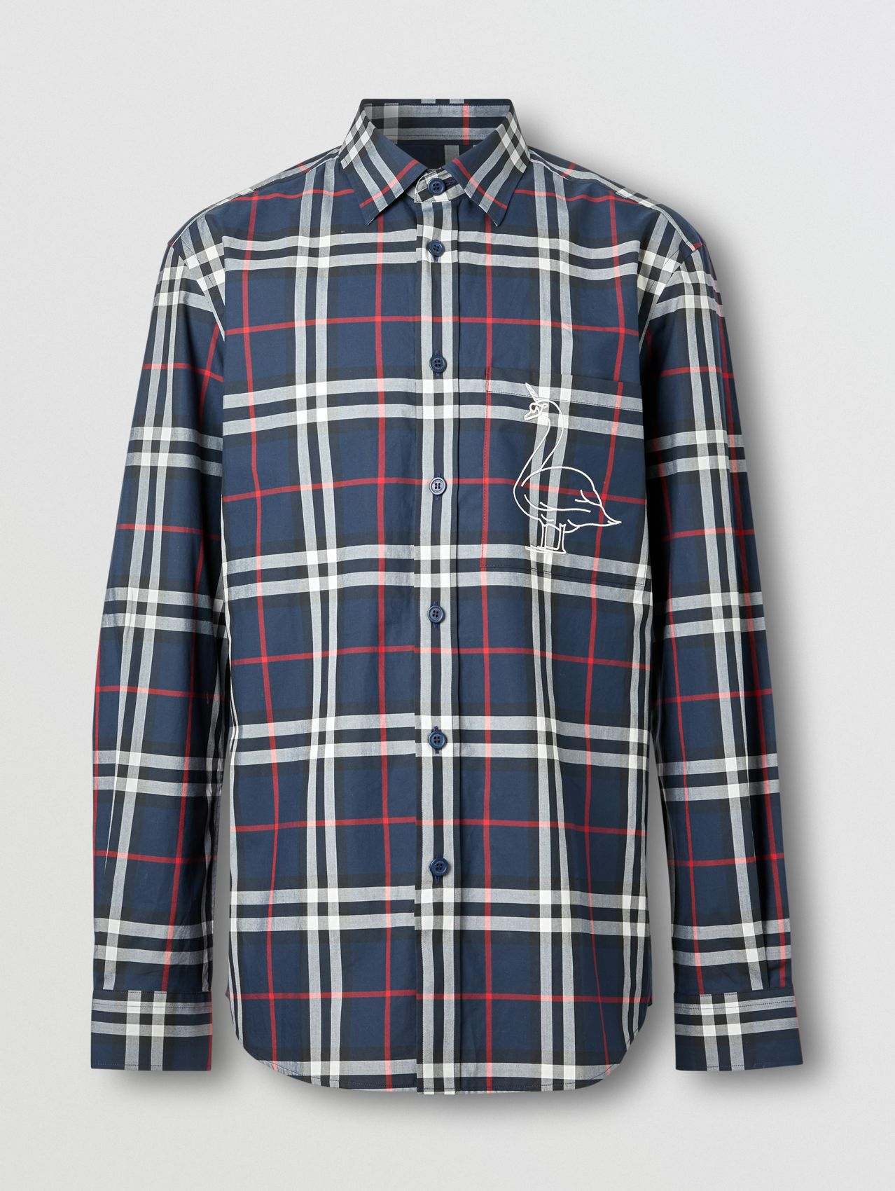 Classic Fit Swan Motif Check Cotton Shirt in Navy