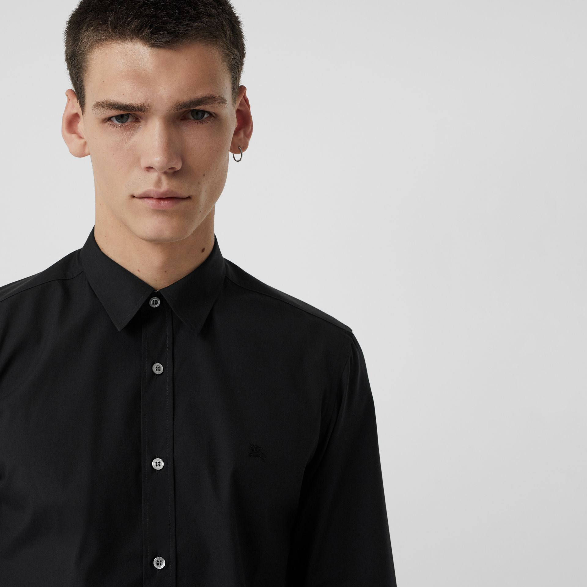 Check Cuff Stretch Cotton Poplin Shirt in Black - Men | Burberry Australia - gallery image 4