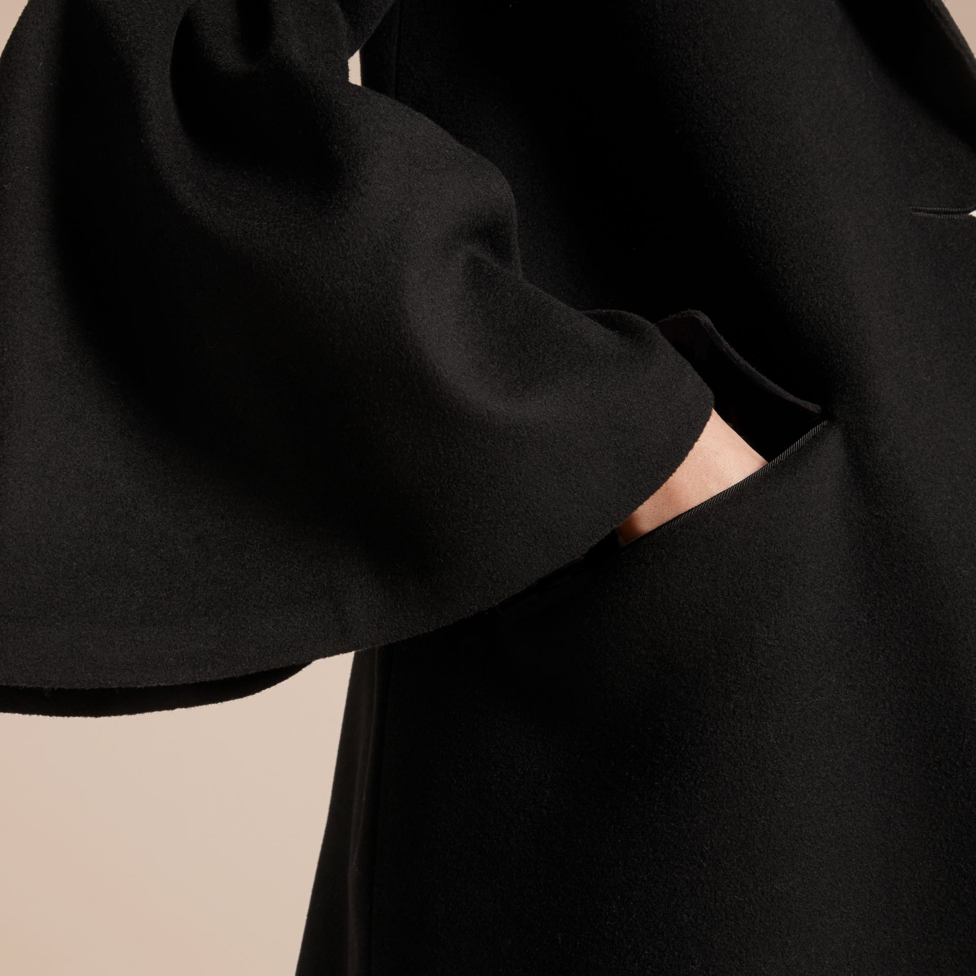 Black Tailored Wool Cashmere Coat with Bell Sleeves Black - gallery image 5