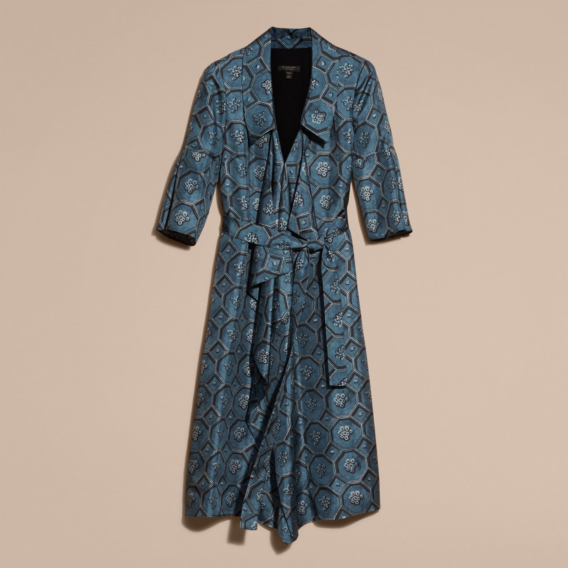 Dark mineral blue Wallpaper Print Silk Twill Wrap Trench Dress - gallery image 4